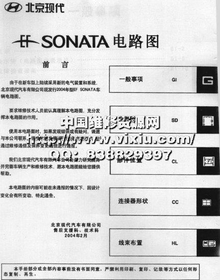 北京现代索纳塔原厂电路维修手册
