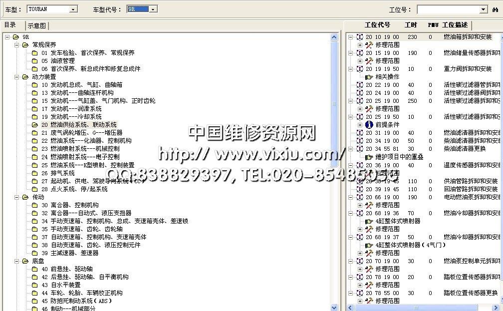 系统涵盖了上海大众的桑塔纳