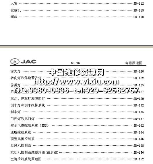 2008江淮瑞风祥和mpv全车电路图