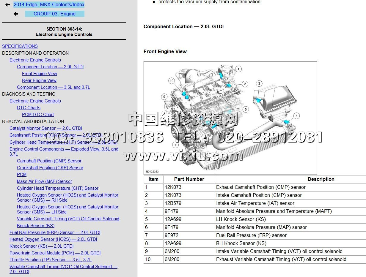 2014款福特锐界edge维修手册带电路图维修资料