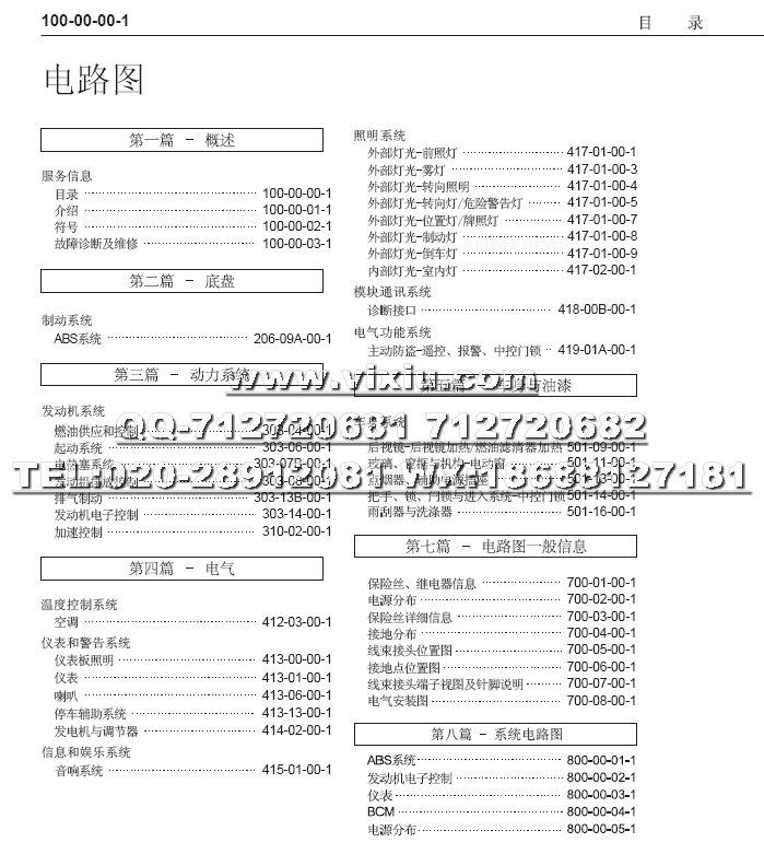 2011款起江铃凯锐n800厢式货车电路图册资料