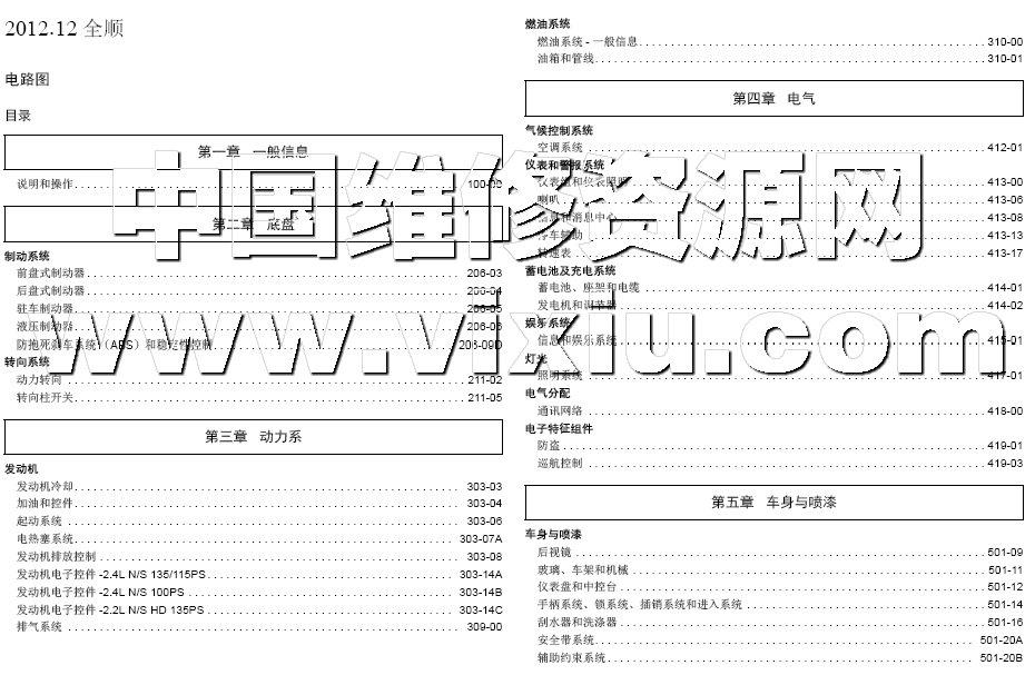 2012-2013款江铃福特全顺v348汽车电路图维修资料详细资料