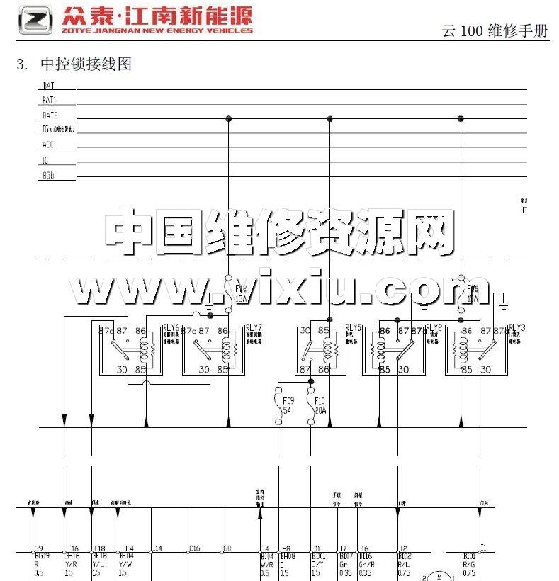 2015款众泰云100纯电动汽车维修手册详细资料