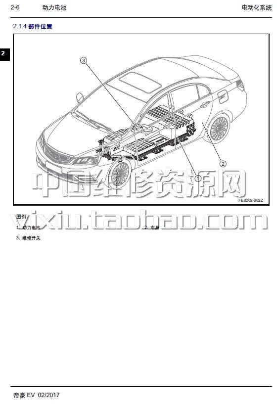2017款吉利帝豪ev300汽车维修手册带电路图资料