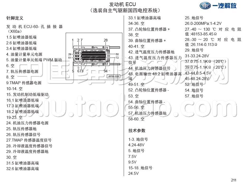 2016款一汽解放j6m j6l卡车电路图册