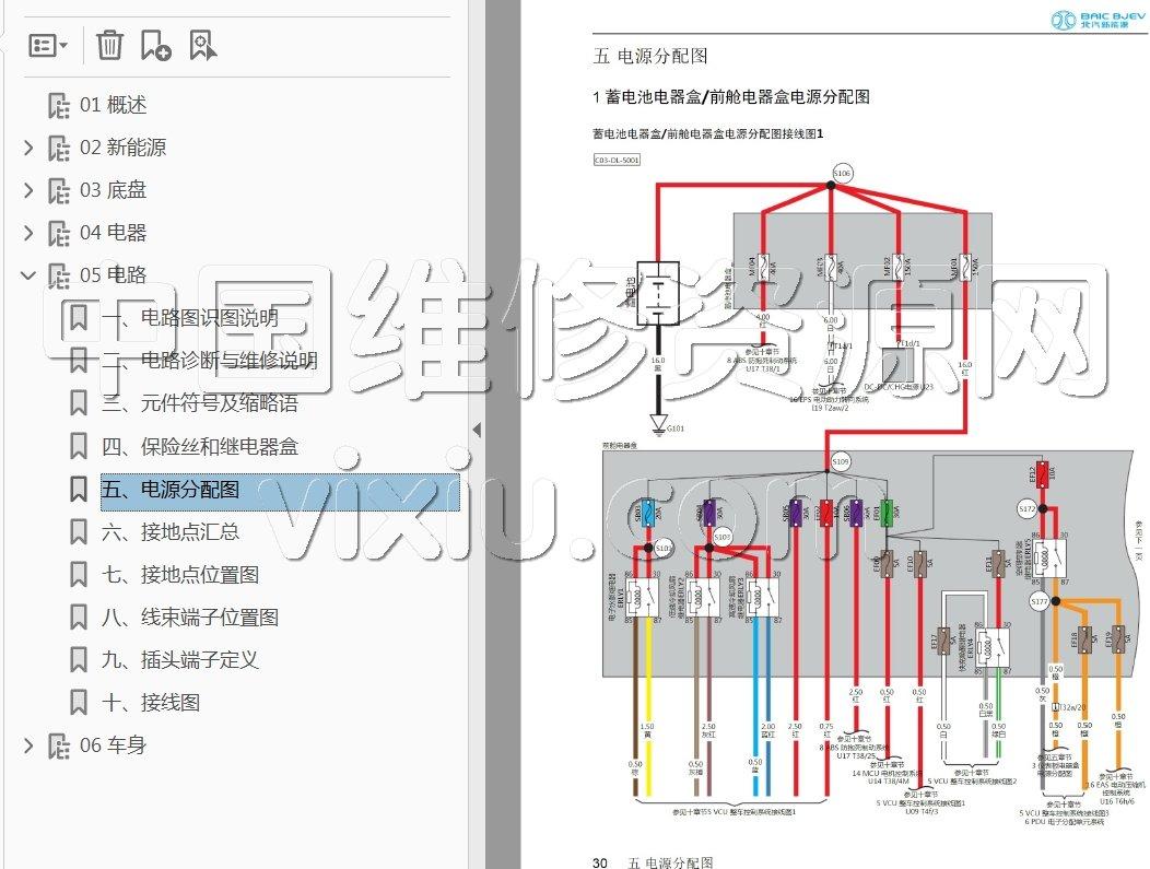 2018款北汽新能源ec3电动汽车维修手册带电路图资料